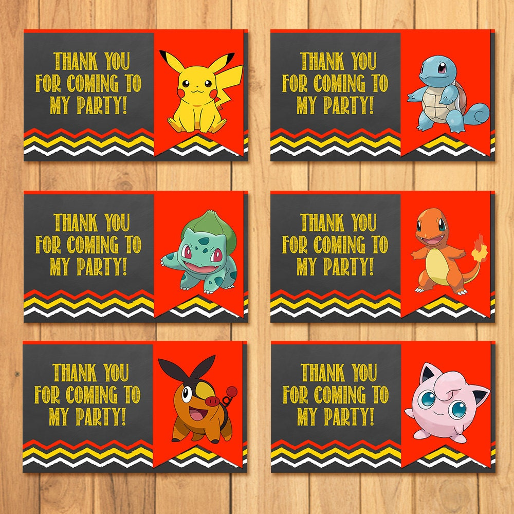 Pokemon Party Tags Chalkboard Pokemon Goody Bag Tags