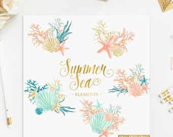 Watercolor Sea ClipArt Summer Nautical Elements Set Intant Download Digital Seashell Starfish Coral Blue Mint Peach Gold High Resolution PNG