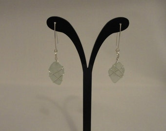 Sea Glass and Sterling Silver Wrapped Earrings