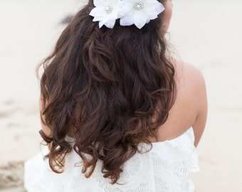 White Flower Bridal Hair Pin with Rhinestone and Pearl Center