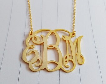 """Personalized Initial Monogram Necklace,Large Gold Monogram Necklace,2"""" inch Personalized Monogram Necklace,Monogrammed Gifts"""