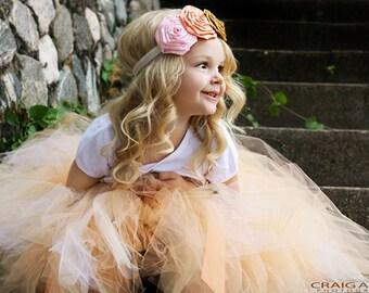 Pinks Gold and Peach Roses Headband Baby Girl Headband Flower Girl Headband Photo Prop Satin Flower Headband