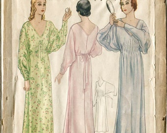 1920s 20s dress pattern // gown butterfly sleeves // pintucks // bust 32 -34  36 - 38 40 -42 // reproduction