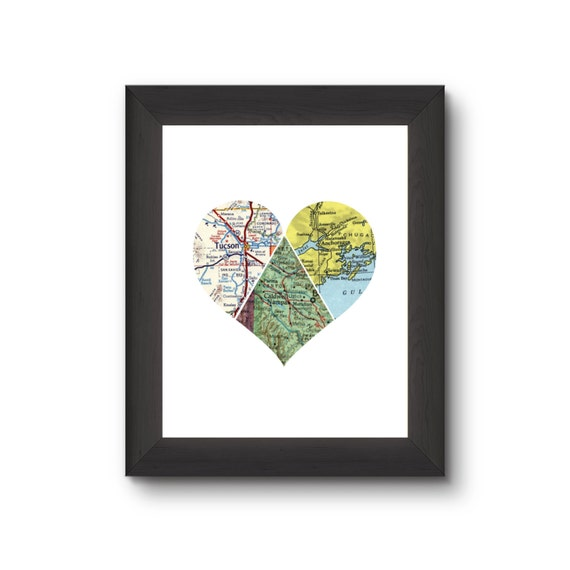 ... Art Travel Map Heart Map Decor Wedding Gift State to State