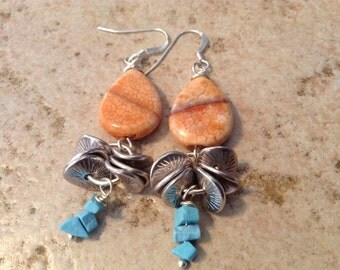 Natural Agate Stone Dangle Earrings!