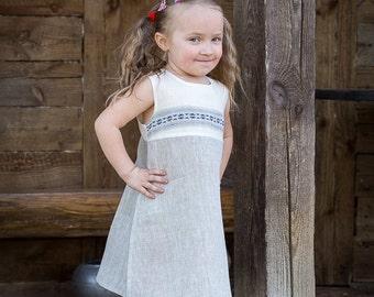 Girls Linen Dress. Linen Dress for Girl.Toddler Girl Linen Dresses.