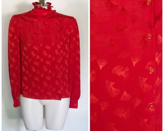 1980s red blouse with stand up ruffled collar from Misty Touch SIZE 6