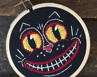 Black Cat Ornament,  Black Cat Art, Folk Art Cat, Embroidery Hoop Art