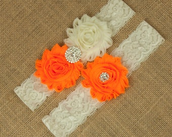 Neon Orange Wedding Garter, Ivory Lace Garter, Toss Garter, Keepsake Garter, Bridal Garter Set, Orange Garters, Flower Garters, SCI1-O03