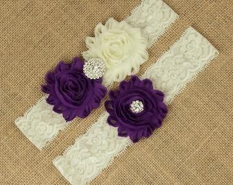Purple Bridal Garter, Ivory Lace Wedding Garter, Shabby Chic Rosette Flower Garter, Purple Garter Set, Bridal Garter Belt, Garter, SCI1-P02