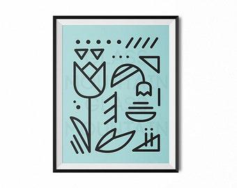 Scandinavian flower, Scandinavian art print, modern art, minimal art, black and white art, lines art, blue, flowers print, retro, office