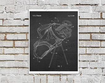Golf Bag Poster print #7 black White chalkboard Art Print, Golf Print, Golf Wall Art, Golf Bag Invention Drawing, Golf Decor, Office Decor