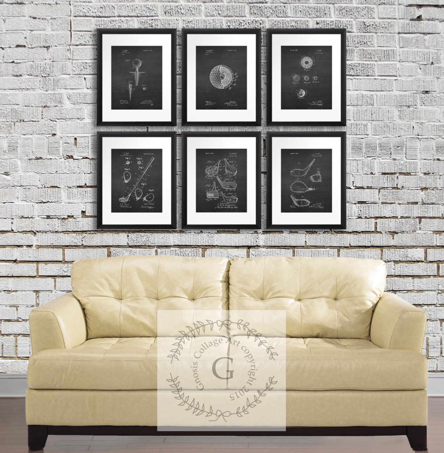 Golf Home Decor Golf Art Prints Golf Wall Decor Set Of 6