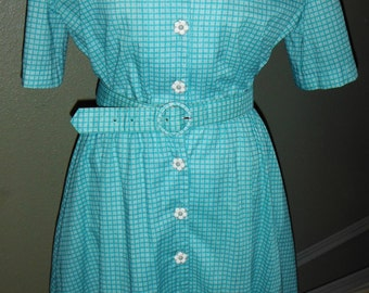 Adorable turquoise green plaid day dress by California Looks