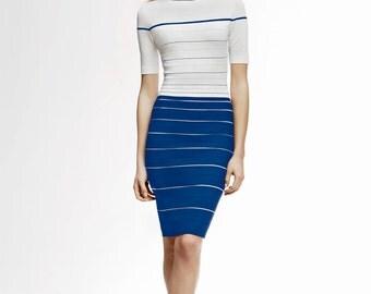 REGATTA Striped Bodycon Dress in Blue and Cream