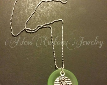 Seahorse Necklace, Sea Glass +  Seahorse 9k White Gold Necklace