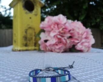 Shades of Blue Beaded Leather Wrap Bracelet