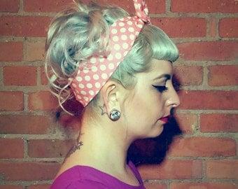 Vintage Style Pink Polka Dot Headband Rockabilly Hair Accessories Dolly Bow