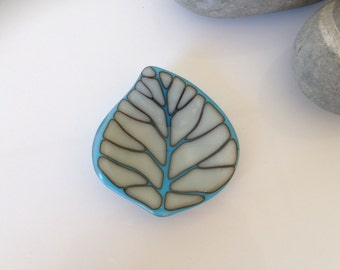 Leaf trinket dish fused glass in blue and cream
