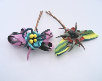 Bobby pins, Hair decor, pink black bow blue flower, moth with flower, EtsyGifts ,  hair pins, original clay crafts, accessories, ooak,