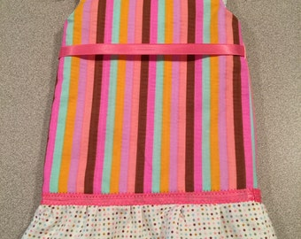 18 Inch Pink Striped Doll Dress With Polka Dot Ruffle