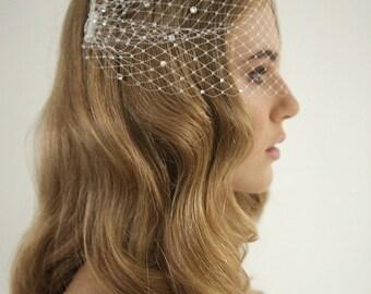 Rhinestone bandeau birdcage wedding veil, rhinestone birdcage veil, headband veil, russian netting birdcage, Clara - Style V01