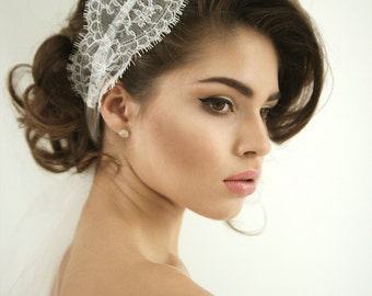 Lace tulle wedding headband, lace wedding headpiece, lace head wrap with silk ties, Grace - Style H03