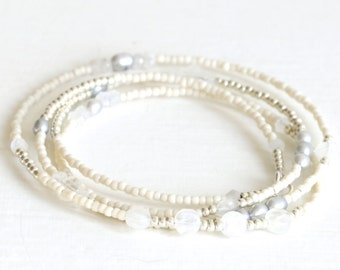 Long Seed Bead Necklace Moonstone Necklace Pearl Long Beaded Necklace Wrap Bracelet
