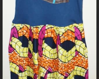 Girls African VIP Wax Dress with Gymnast Felt Applique
