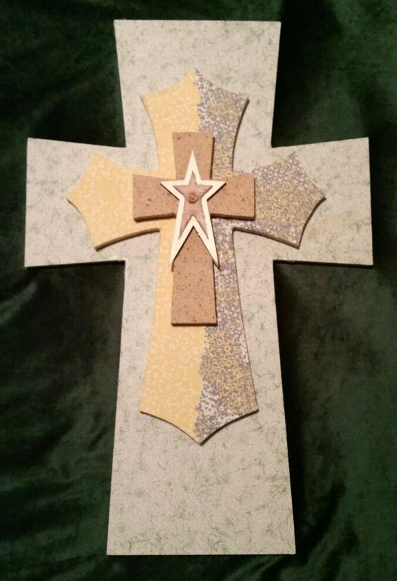 Handmade stacked crosses with a burlap and wood by