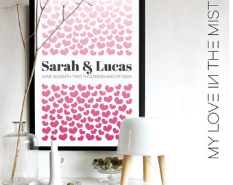 175 Hearts Wedding Guest Book Alternative/Alternative Wedding Guest Book/Signature hearts/Engagement Gift/Wedding Gift/175 guests,No. 132