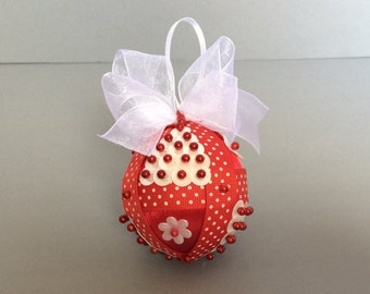 Red With White Polka Dot Sequined Christmas Ornament/Handmade