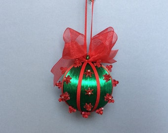Green & Red Beaded Christmas Ornament