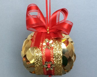 Gold Sequin Overlay Christmas Ornament