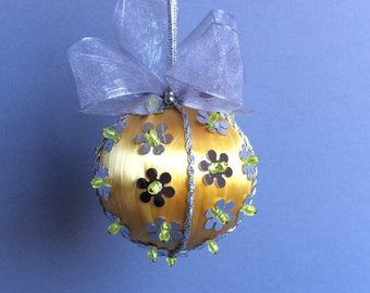 Gold Silver Sequined Christmas Ornament