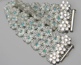 Sparkling Daisy Beaded Bracelet / Cuff