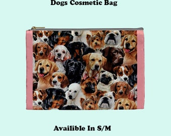 Dog Cosmetic Bag, Cosmetic Bag, Make Up Bag, make up bag,animal, cats, cute, pink