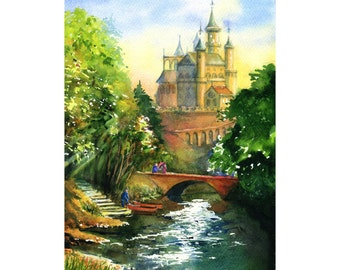 Once upon a time - ORIGINAL WATERCOLOR PAINTING landscape