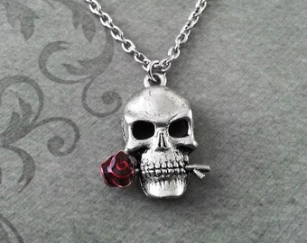 Skull Necklace SMALL Rose Skull Jewelry Red Rose Necklace Gothic Jewelry Gothic Necklace Pendant Necklace Gothic Wedding Gift Skull Gift