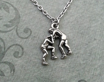 Wrestlers Necklace, SMALL Wrestling Necklace, Wrestling Gift, Wrestler Necklace, Wrestler Present, Wrestler Gift, Silver Wrestling Jewelry