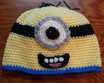 Crochet hat, inspired by minions- Size lg child-sm adult