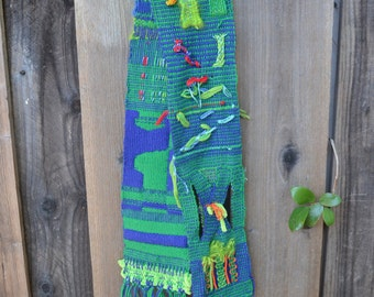Vintage Woven Fiber or Textile Art, Table Runner, Blues and Greens, Hand Made, Very Unusual