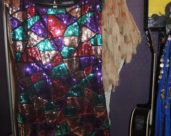Multicolor Sequin Mini Dress Festival 80s 70s
