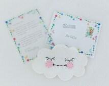 Binky fairy / dummy fairy letter with tiny sleepy face cloud pillow with moon details.