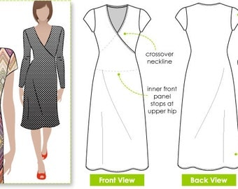 Slip on Suzie - Sizes 10, 12, 14 - Mock wrap knit dress PDF Dress Pattern by Style Arc - Instant Download - Sewing Project