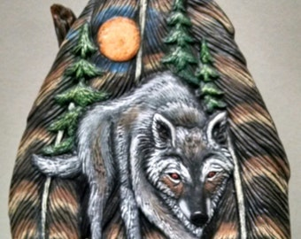 Feathers/Wolf/Holder--Native American Indian Figurine--Heirloom Quality--Hand-painted Ceramic--Home Decor--Native American Art