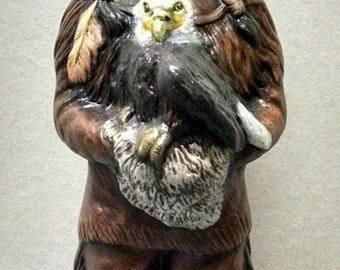 SALEIndian Boy with Eagle--Native American Indian Figurine--Heirloom Quality--Hand-painted Ceramic--Home Decor--Native American Art