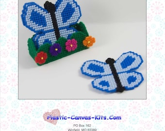 Butterfly Coaster Set-Plastic Canvas Pattern-PDF Download