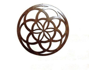 "Seed of Life WALL ART - Raw Wood Home Decor - Laser cut wood, Giant Seed of Life 14.5"" x 14.5"""