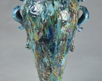 Vase; Blue, Purple, Green 20 inches high